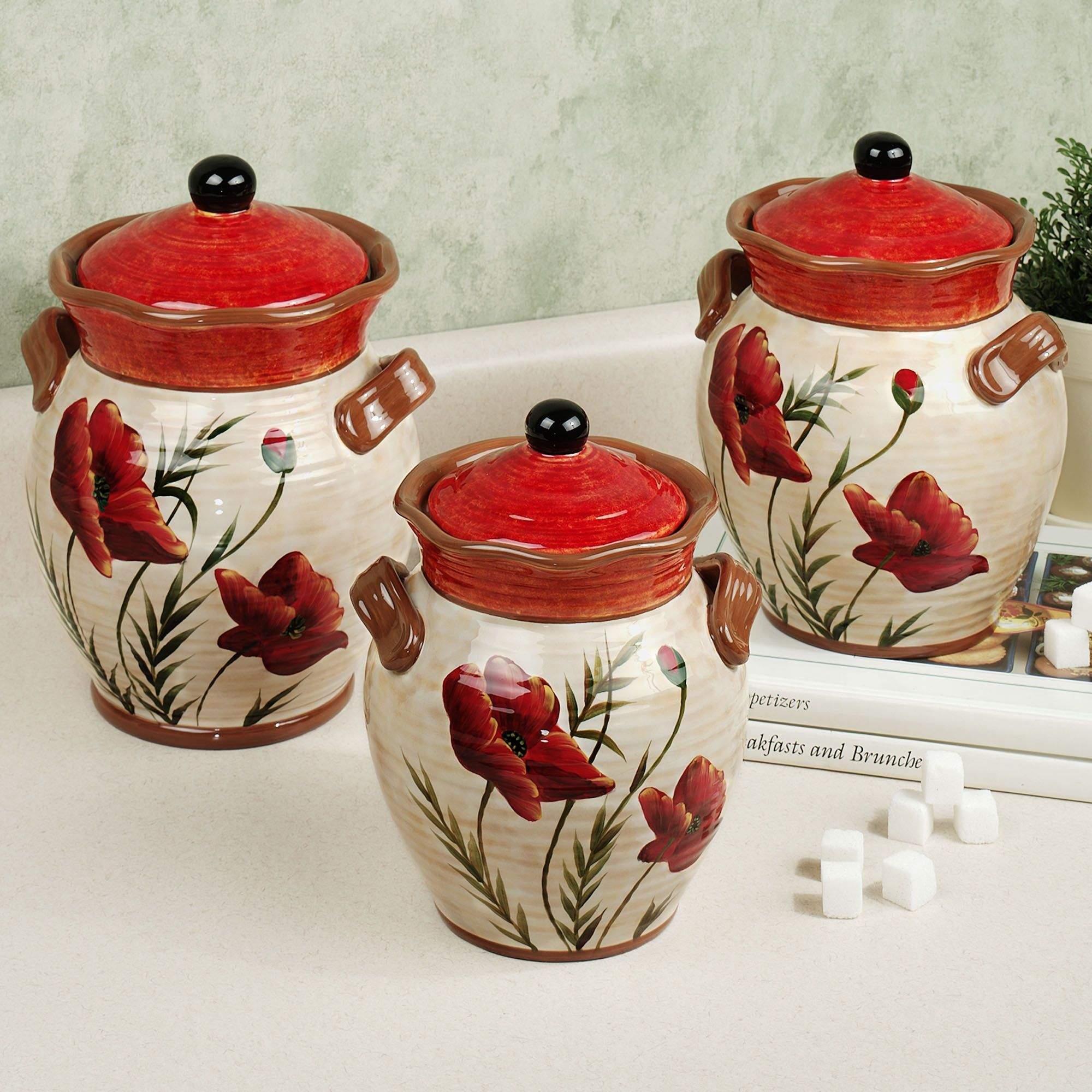 Poppies kitchen canister set kitchen theme ideas for Kitchen set red