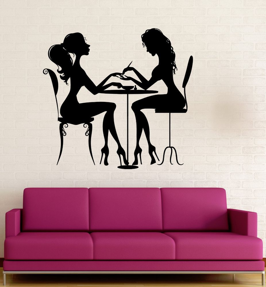 Details about vinyl decal beauty salon nail manicure hair spa for woman wall sticker ig3123 - Stickers salon design ...