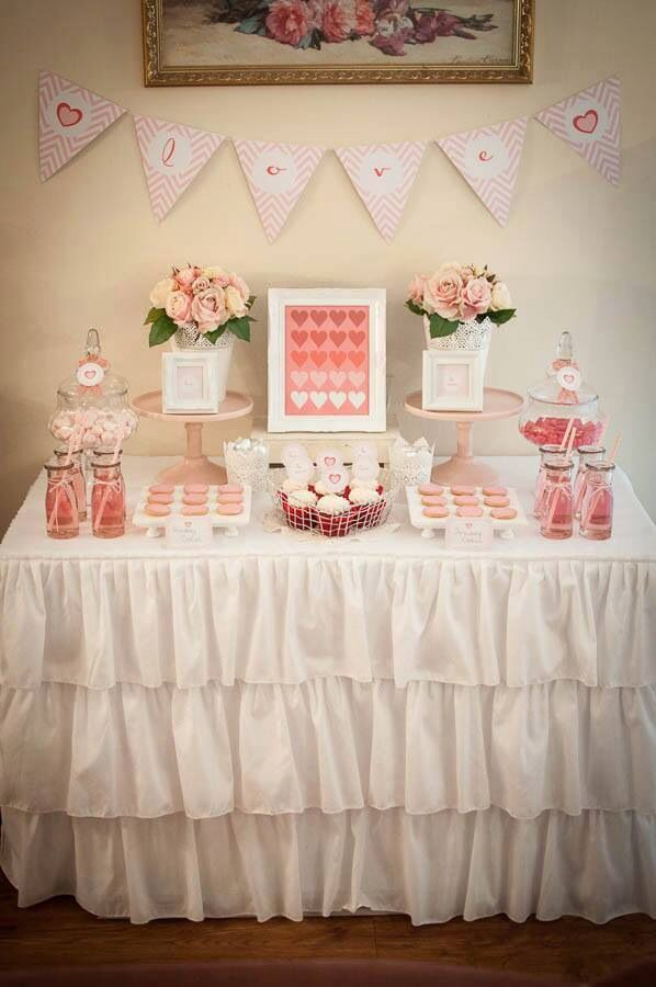 Delightful I Love You ......white Ruffled Tablecloth,pale Pink Cake