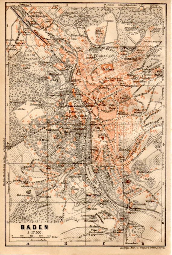 1909 BadenBaden Map Germany Map Antique Map BadenWrttemberg