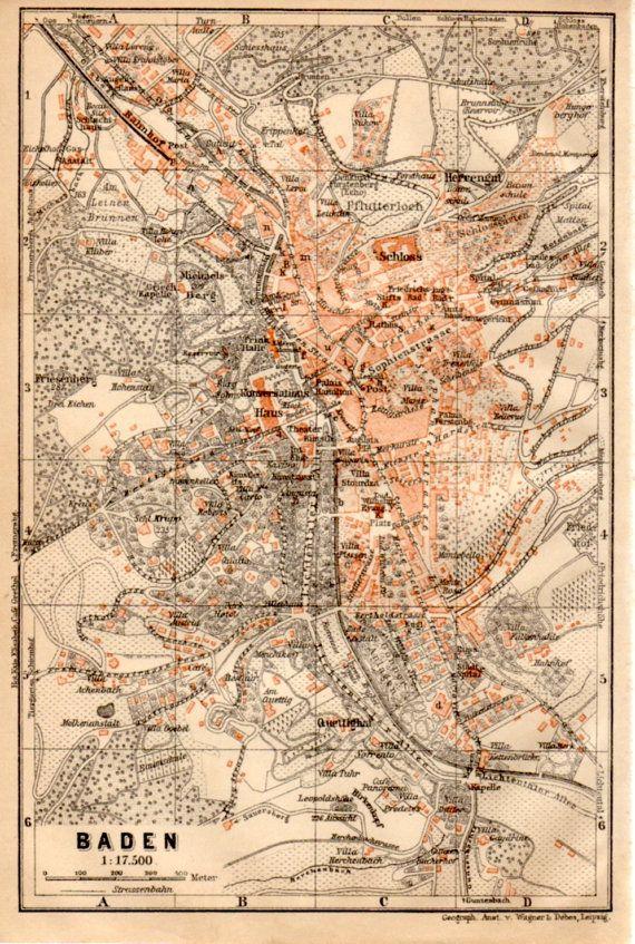 Map Of Germany Karlsruhe Baden.1909 Baden Baden Map Germany Map Antique Map Baden Wurttemberg