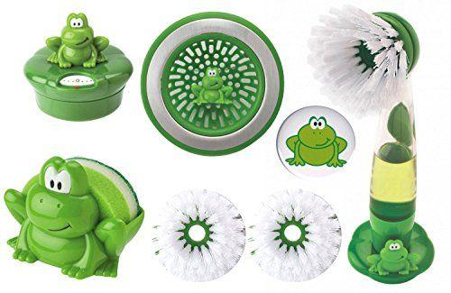 Joie Kitchen Ribbit Frog Gadgets And Accessories Set Timer Sink Strainer Scouring Sponge Padholder Magnet Variety Gift Bund Sink Strainer Gift Bundles Gadgets