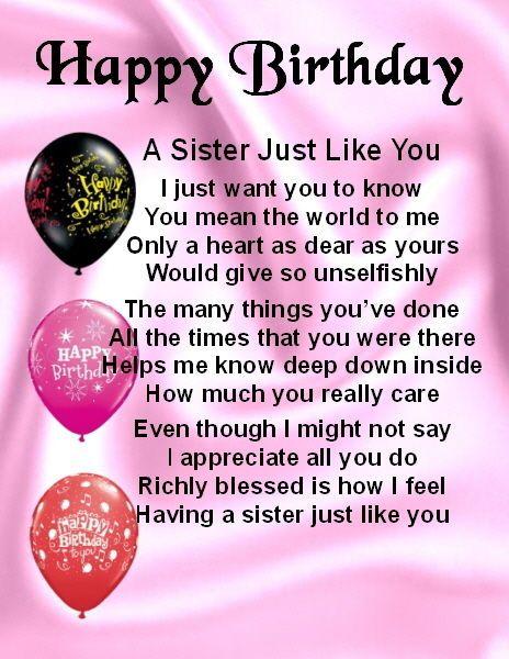 happy birthday sister poems Fridge Mag  Personalised   Sister Poem   Happy Birthday + FREE  happy birthday sister poems