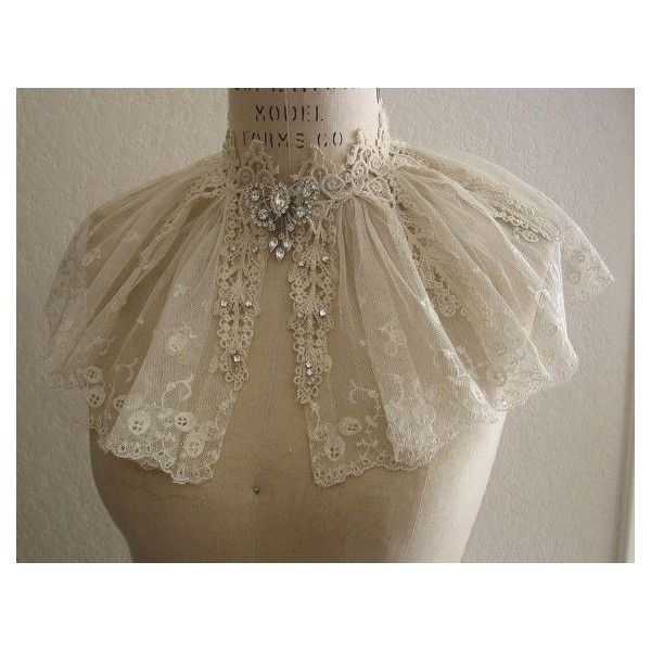 Vintage Lace Collar Capelet Wedding Dress ❤ liked on Polyvore featuring dresses, brown vintage dress, vintage embroidered dress, embroidered dress, brown dress and rhinestone dress