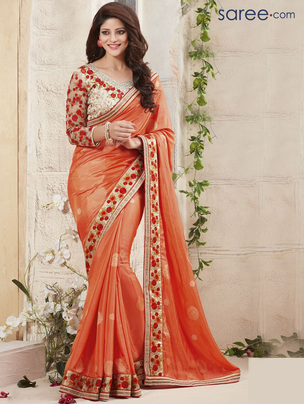 Peach color saree for wedding orange georgette saree with embroidery work  embroidery works