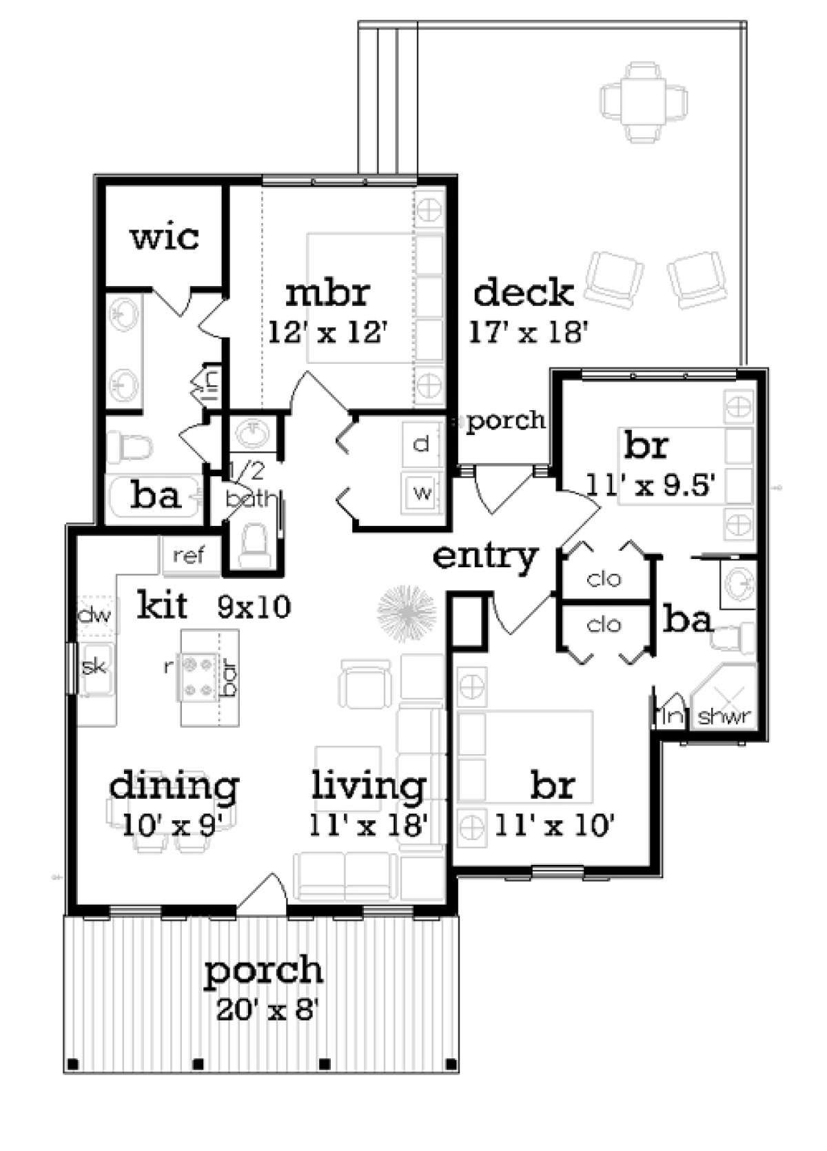 House Plan 048 00246 Bungalow Plan 1 086 Square Feet 3 Bedrooms 2 5 Bathrooms In 2020 Small House Plans Cottage Style House Plans Cottage Style Homes