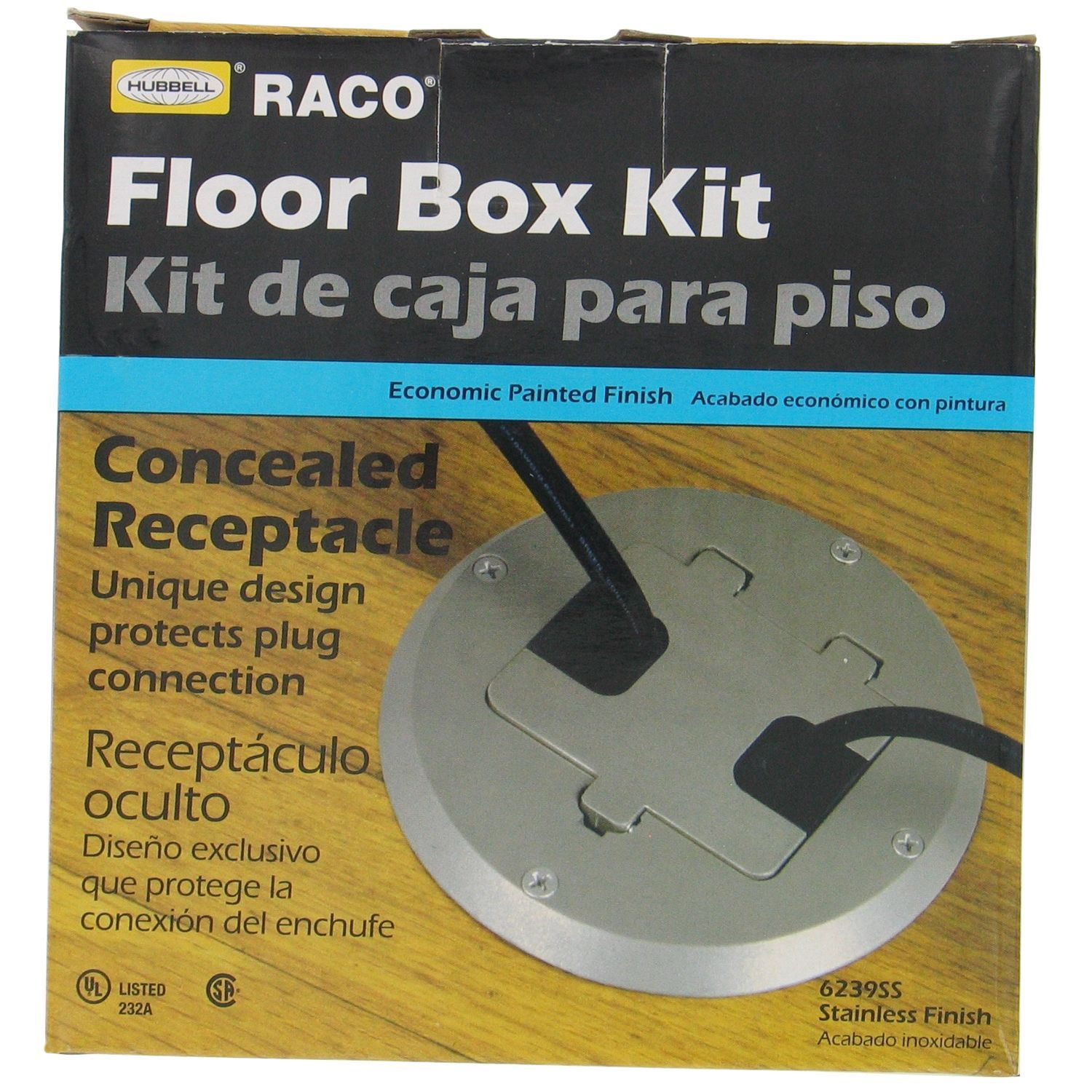 Hubbell Raco 6239SS Stainless Steel Concealed Receptacle Floor Box Kit (Other electrical), Black