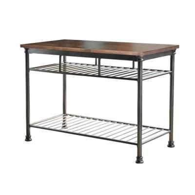 Home Styles Orleans Butcher Black Carmel Kitchen Island In Gun Metal 5061 94  At