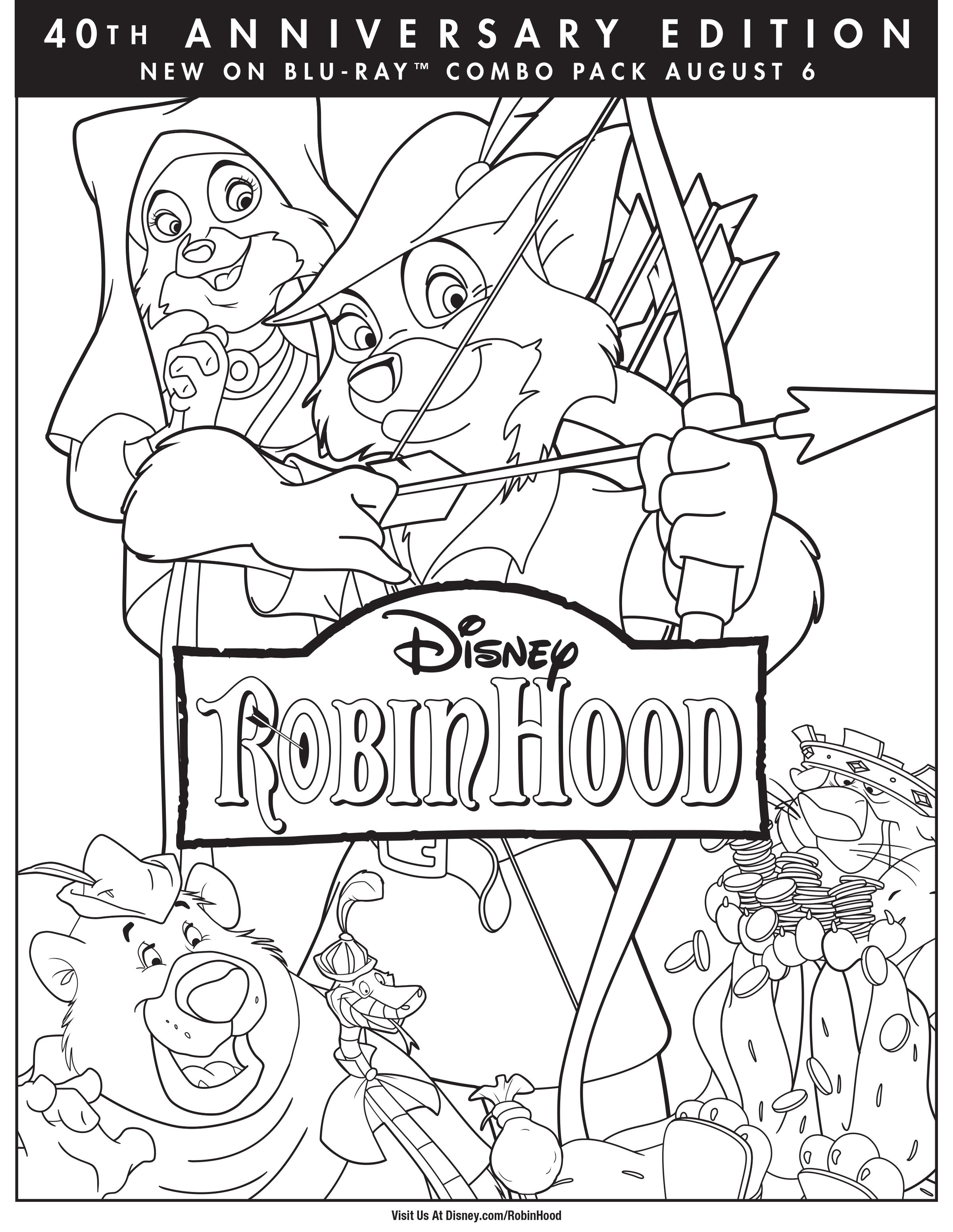 Robin Hood Coloring Page - Robin Hood Movie Night - Disney Movie ...