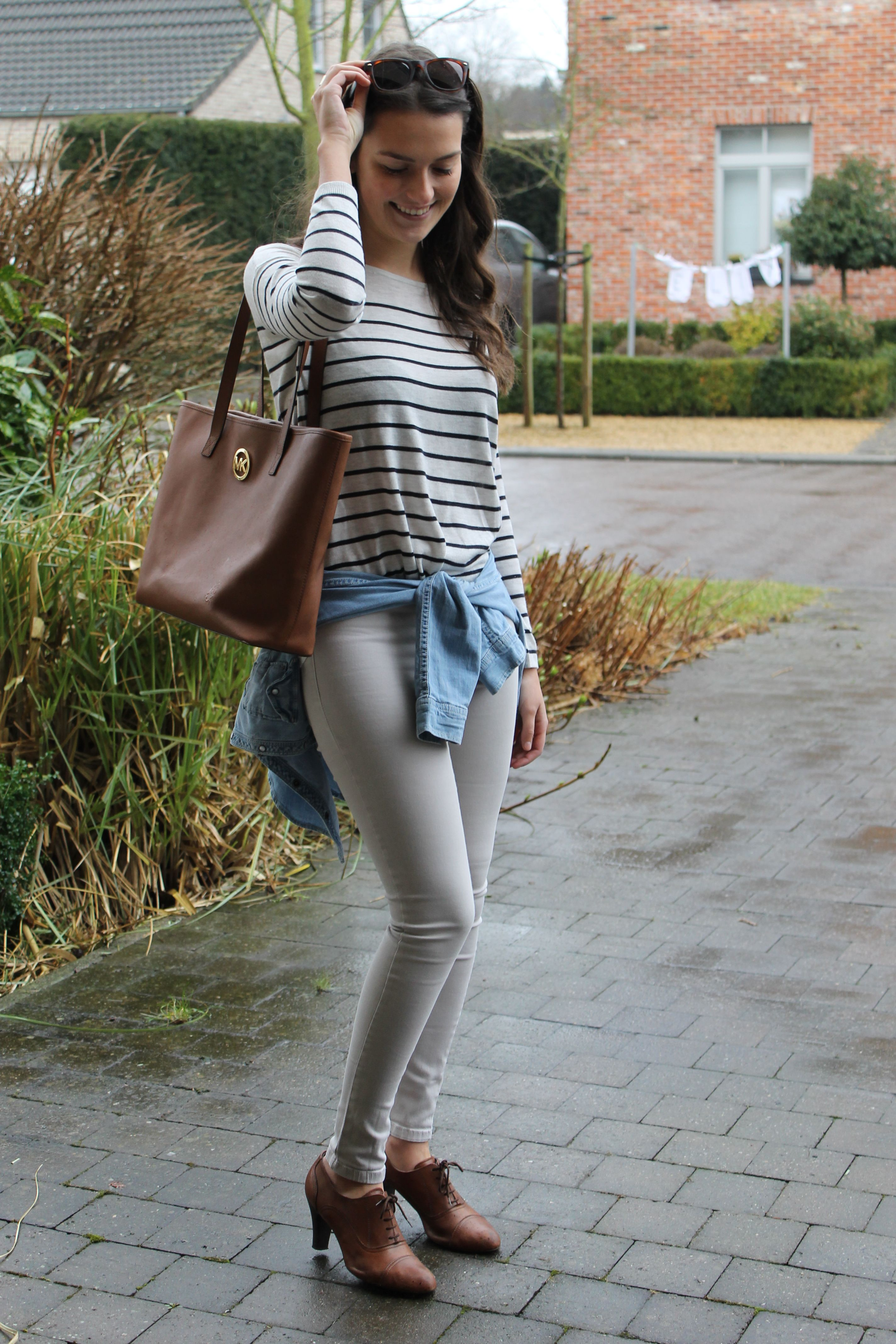 GorisHelena spring fashion blogpost / Michael Kors / striped top / jeans shirt / lace-up shoes
