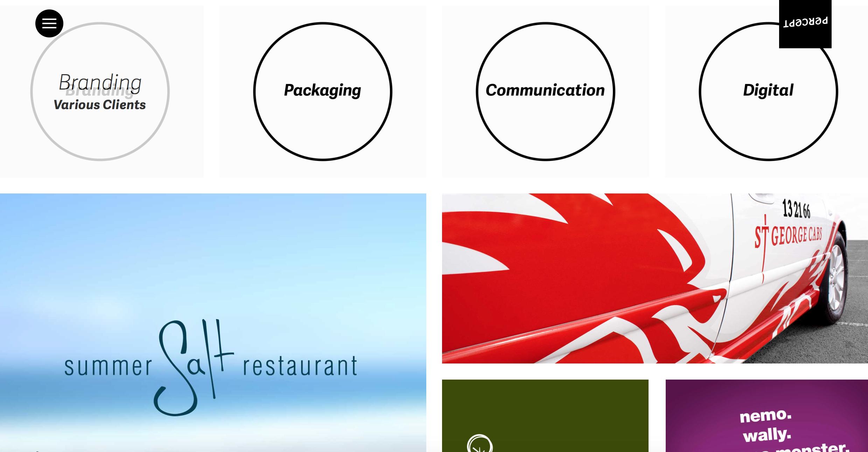 A screenshot of a Sydney design firm's website
