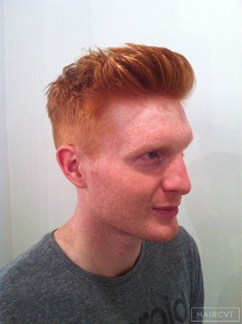 men redhead ginger quiff textured