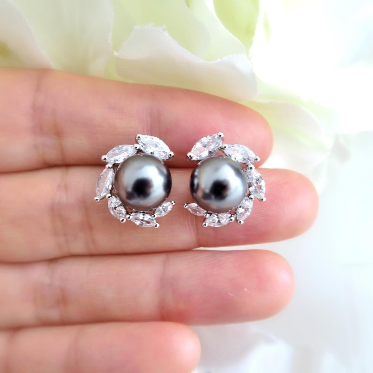 Dark Grey Pearl Earrings Wedding Earrings Bridesmaid Stud Earrings Bridesmaid Gift Earrings Dark Grey Stud Pearl Bridesmaid Earrings