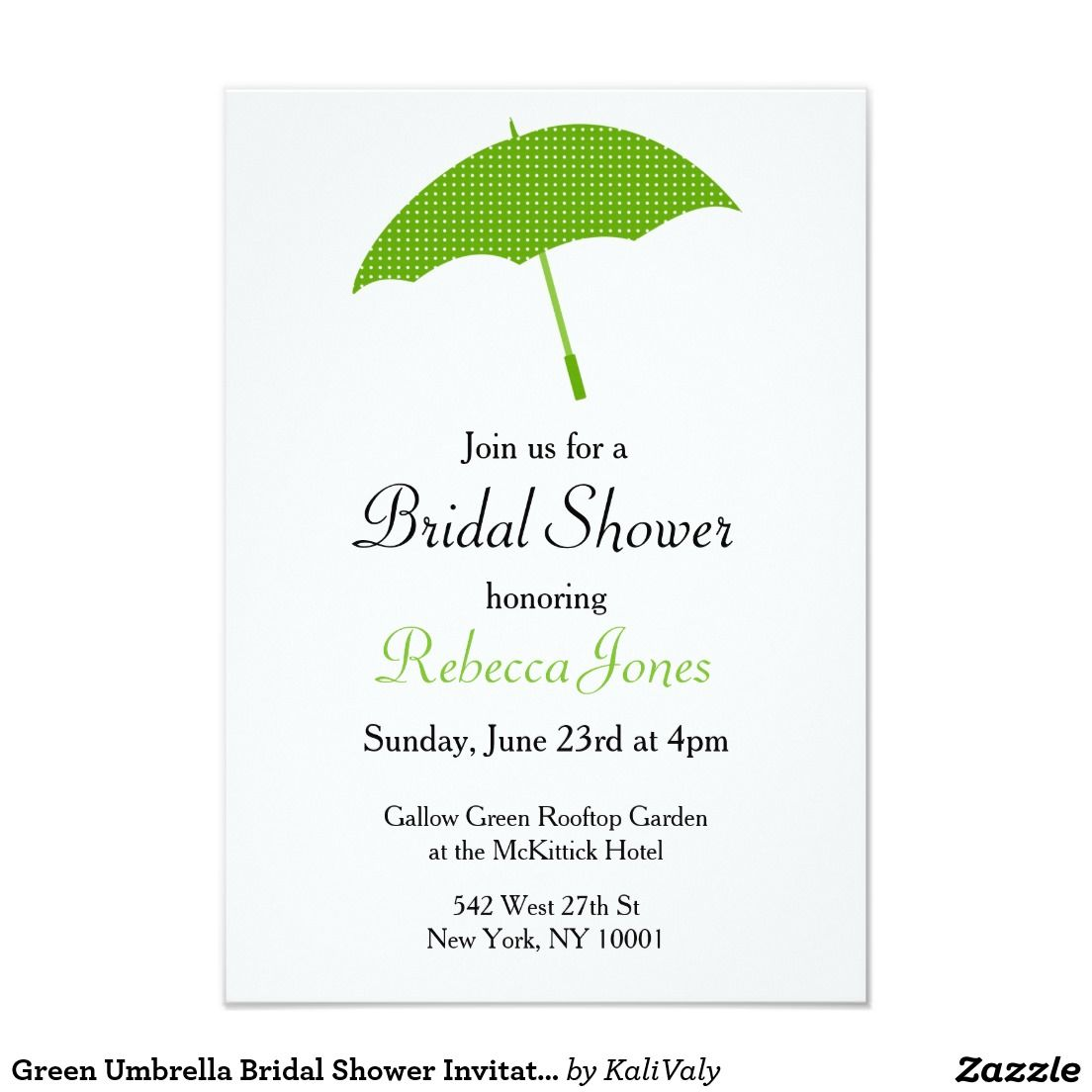 Green Umbrella Bridal Shower Invitation Bridal Shower Pinterest