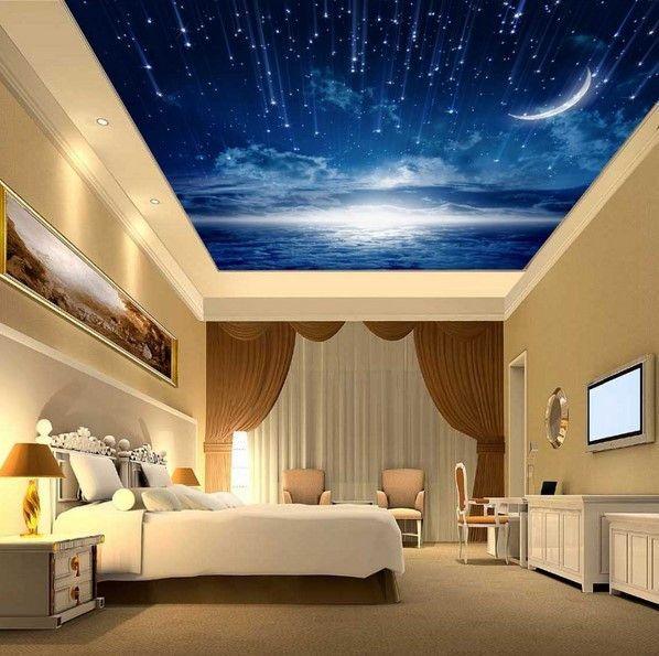 Custom 3d Blue Night Sky Shooting Stars Moon Wallpaper Ceiling Design Bedroom False Ceiling Design Sky Ceiling