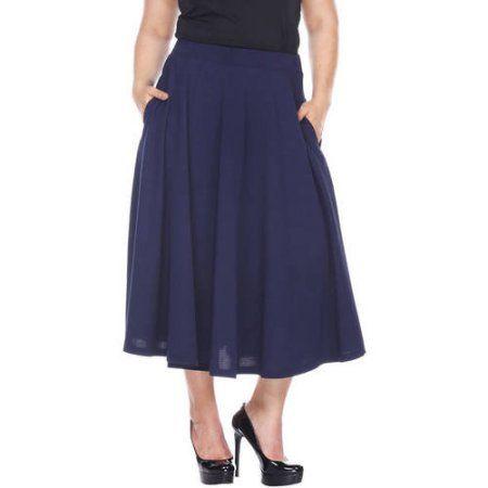 79ea45e5da Plus Size White Mark Women's Plus 'Tasmin' Flare Midi Skirts, Size: 3XL,  Blue