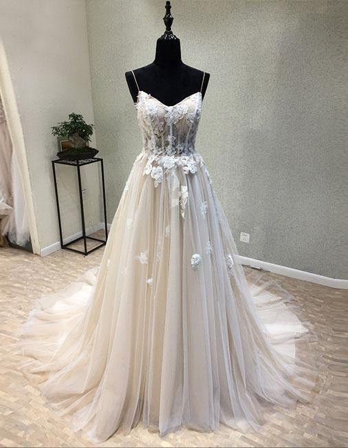 Sexy Spaghetti Straps Lace Tulle Prom Dresses f3a6582985f0e