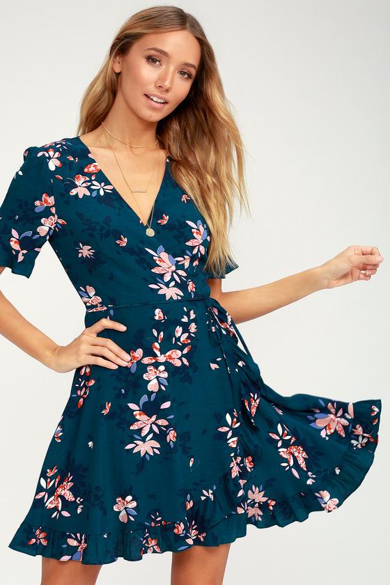Dalton Teal Blue Floral Print Ruffled Wrap Dress Casual Dresses For Women Women S Evening Dresses Printed Wrap Dresses