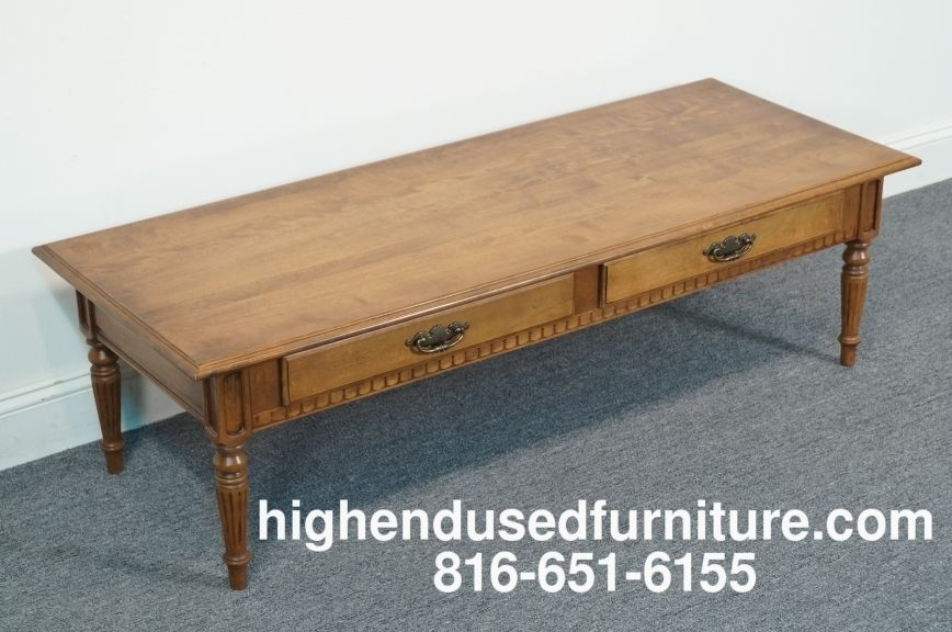 Ethan Allen Classic Manor 56 Two Drawer Coffee Table 15 8420