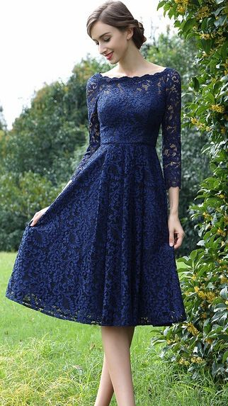 5fcf6d0316 Long Sleeves Blue Lace Mother of the Bride Dress (26170205)