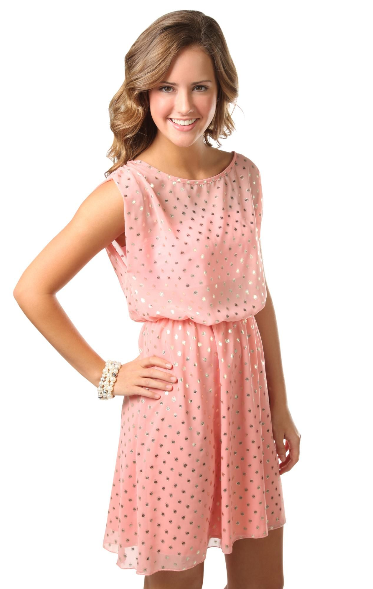 Deb Shops #peach foil dot print soft chiffon casual #dress | Things ...