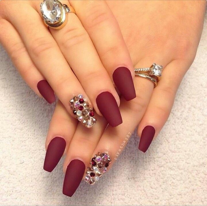 Matte Red Square Tip Acrylic Nails w/ Rhinestones & Ring Set