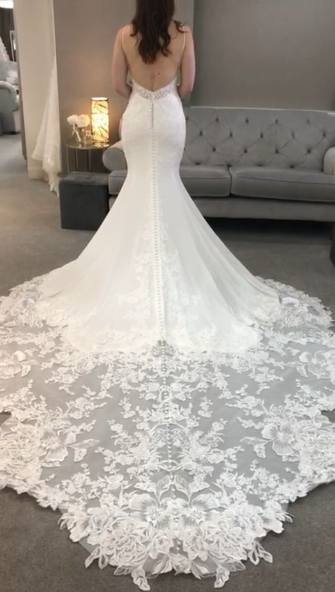 Statement crepe gown with low back & cathedral lac