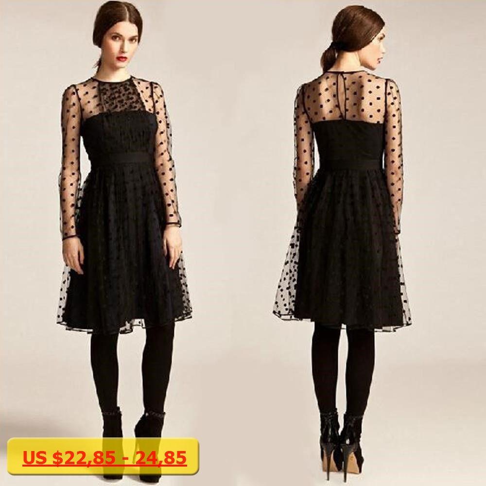 Net yarn dresses party elegant polka dot dresses sheer design long