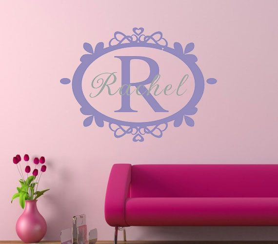 Purple Demask Name wall decalCustom nursery wall stickerBaby girl wall decal & Purple Demask Name wall decalCustom nursery wall stickerBaby girl ...