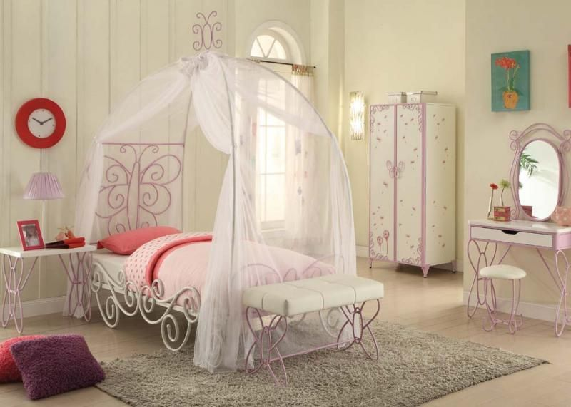 Acme Furniture Priya Ll Twin Girls Canopy 4 Piece Bedroom Set 30530t Twin Canopy Bed Princess Canopy Bed Canopy Bedroom