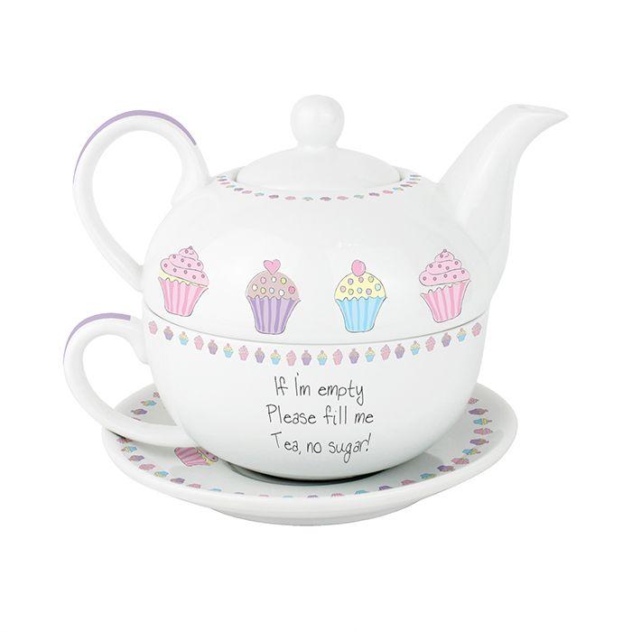 personalised tea for one bone china cup teapot set cupcake tea for one teapots i like. Black Bedroom Furniture Sets. Home Design Ideas