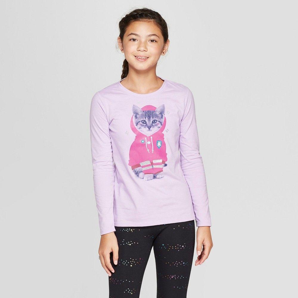 c133716e Girls' Long Sleeve Kitten Graphic T-Shirt - Cat & Jack Purple XL ...