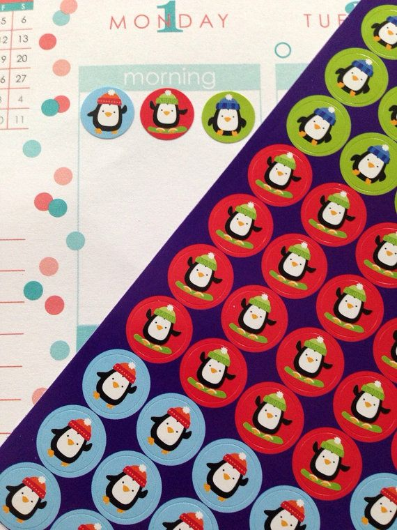 One full sheet of mini dot penguin stickers. Perfect for any planner! Erin Condren, Plum Planner, Limelife, Filofax, Kate Spade, Emily Ley - you