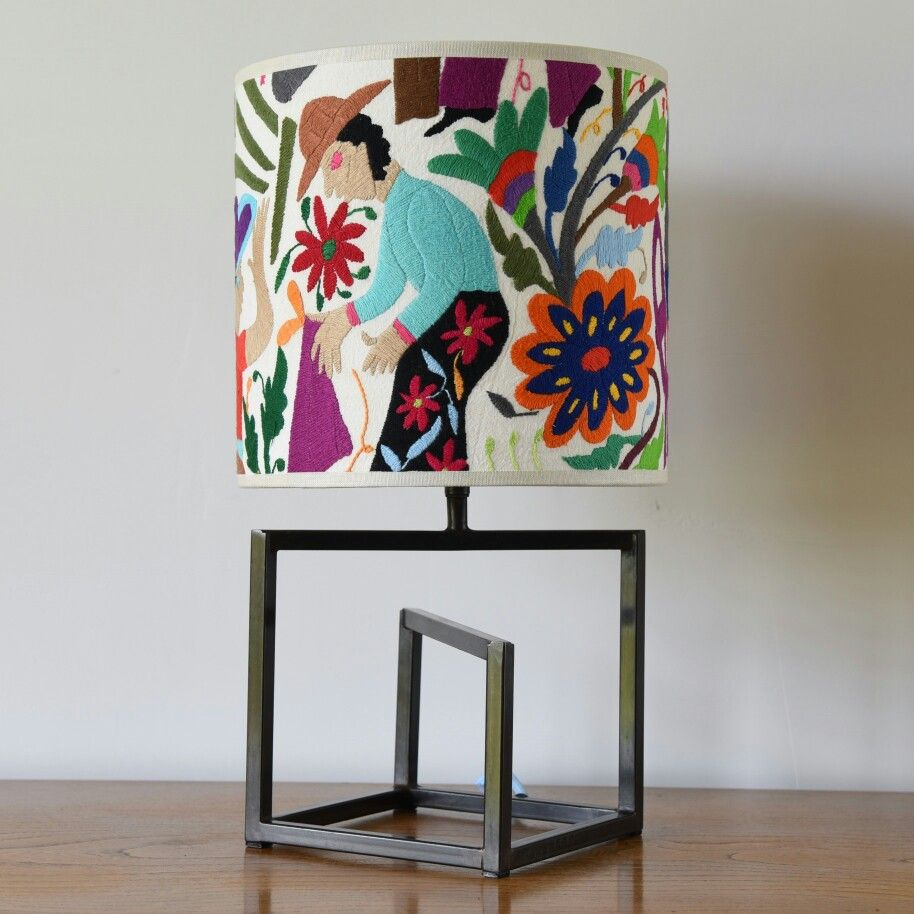 Wonderful hand embroidered 25cm diameter lampshade £80, on a ...