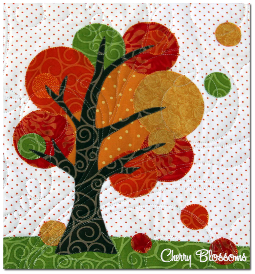 Cherry blossoms- quilting studio: Falling  - free applique pattern