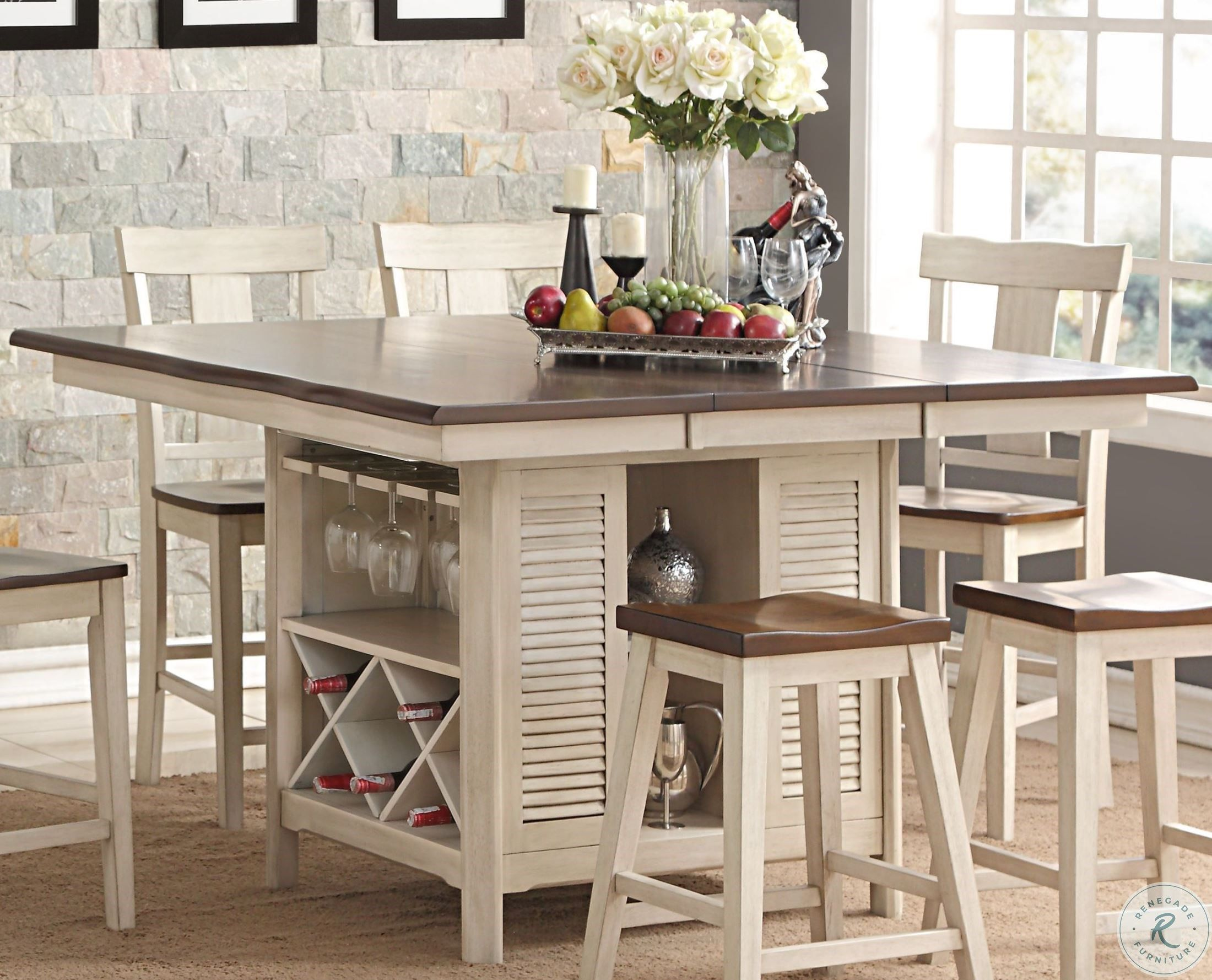 Heather Two Tone Extendable Island Table in 2020   Top ...