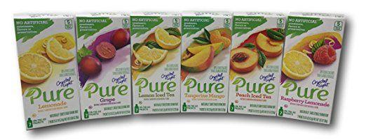 Crystal Light Pure Variety Pack Includes Raspberry Lemonade Lemonade Grape Tangerine Mango Peach Iced Raspberry Lemonade Peach Ice Tea Crystal Light Pure