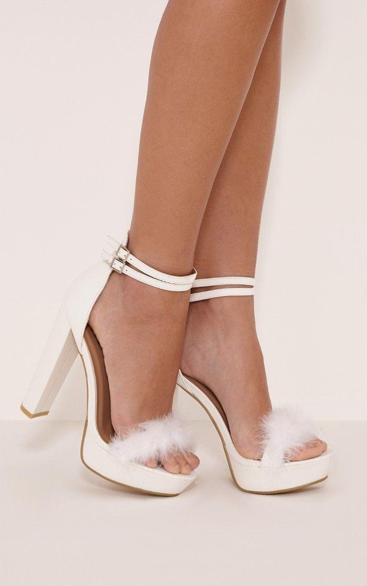 Shea White Fluffy PU Platform Sandals Image 1 | birthday ...
