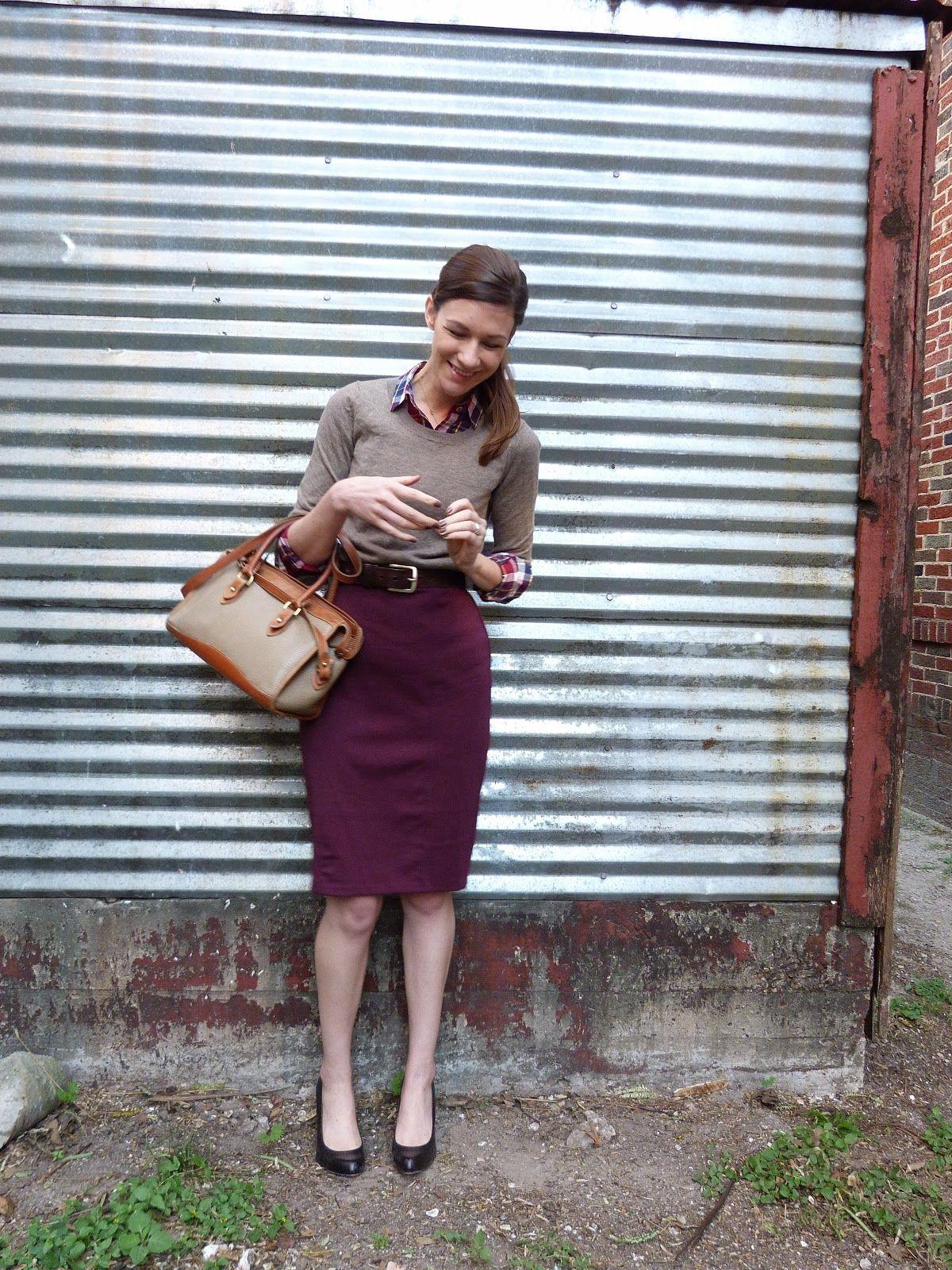 Maroon pencil skirt, plaid button-down shirt, tan sweater tucked ...