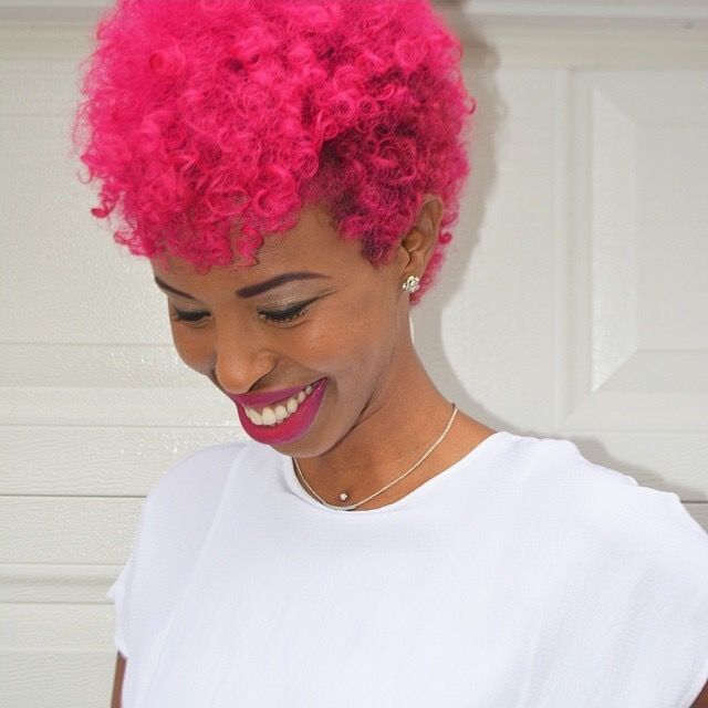 Black Girl With Colorful Hair Red And Pink Hair Short Haircut Afro Hairstyle Inspiration Natural Hair Styles Hair Styles Hair Beauty