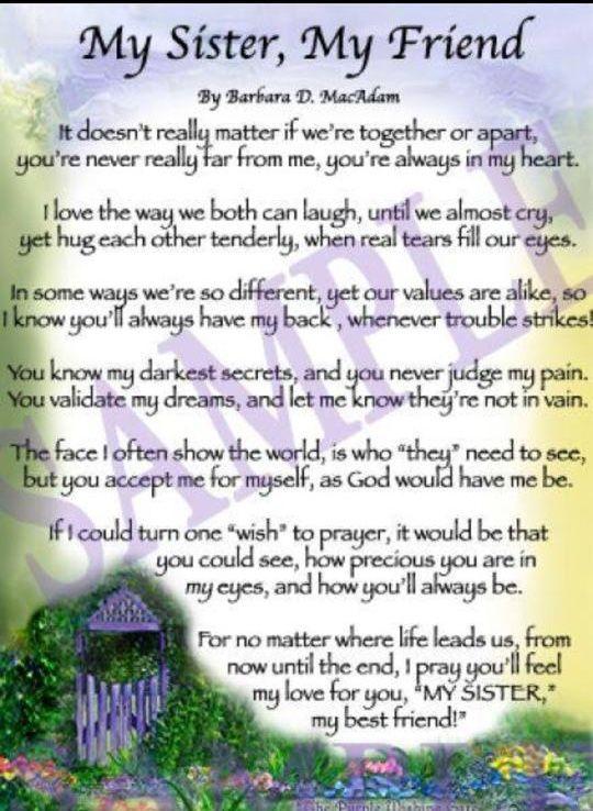 My Sister My Friend Sisters Pinterest Sister Poems Birthday