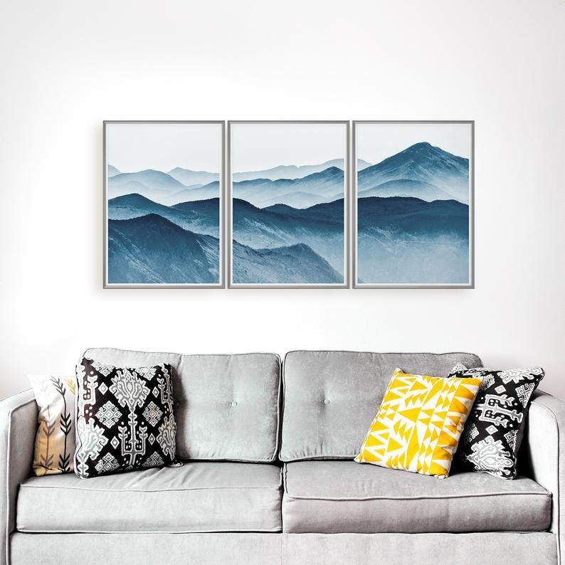 Foggy Mountains Set von 3 Drucke blau Berg Druck, Set von