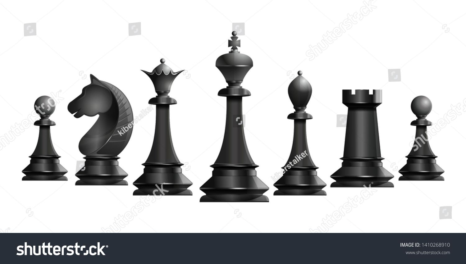 Set Of Black Chess Pieces Chess Piece Icons Board Game Vector Illustration Isolated On White Background White Background Graphic Illustration Chess Pieces