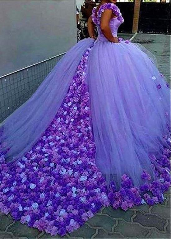 902ec4cf626 Attractive Tulle Off-the-shoulder Neckline Ball Gown Evening Dresses With 3D  Flowers