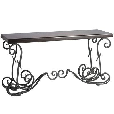 Exquisite Piece The Quention Console Table Black Brown 58 50 W X 17 D 30 75 H Wrought Iron Sheesham Wood Hand Forged