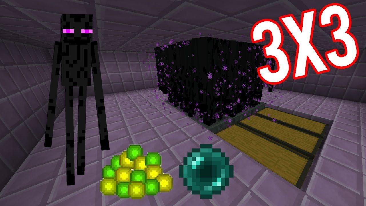 Minecraft Easy Big Enderman Farm 3x3 XP+Ender Pearl 2D and 3D