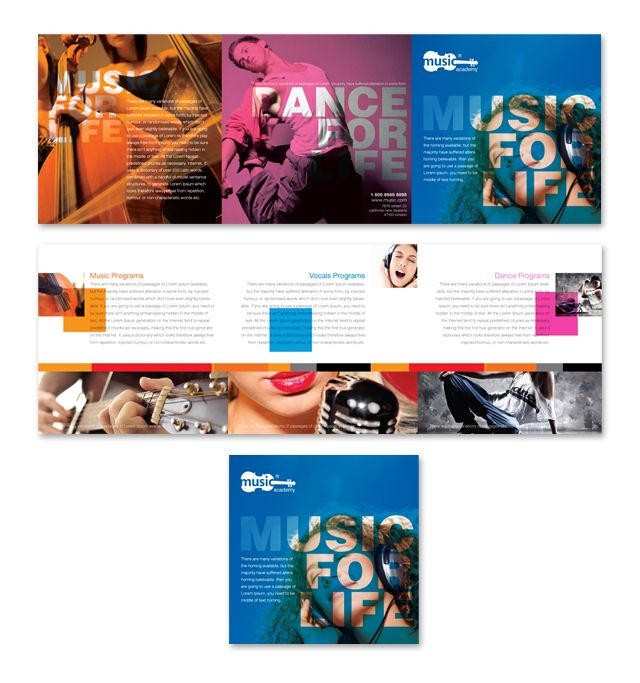 4-Panel Brochure Design, Taos Music School Brochures - school brochure template