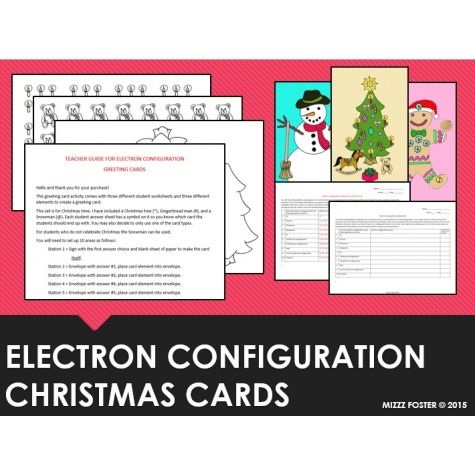 Electron Configuration Christmas Card Activity Chemistry
