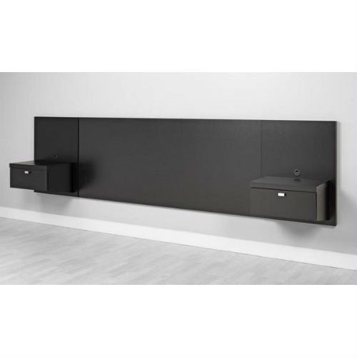King size Modern Floating Headboard with 2 Nightstands in Black ...
