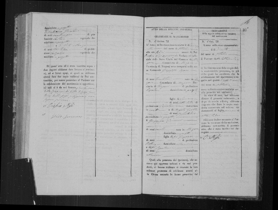Giuseppe Asaro & Giuseppa Cangemi 1863 marriage record